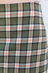 Green Orange White Black Plaid / XS/S