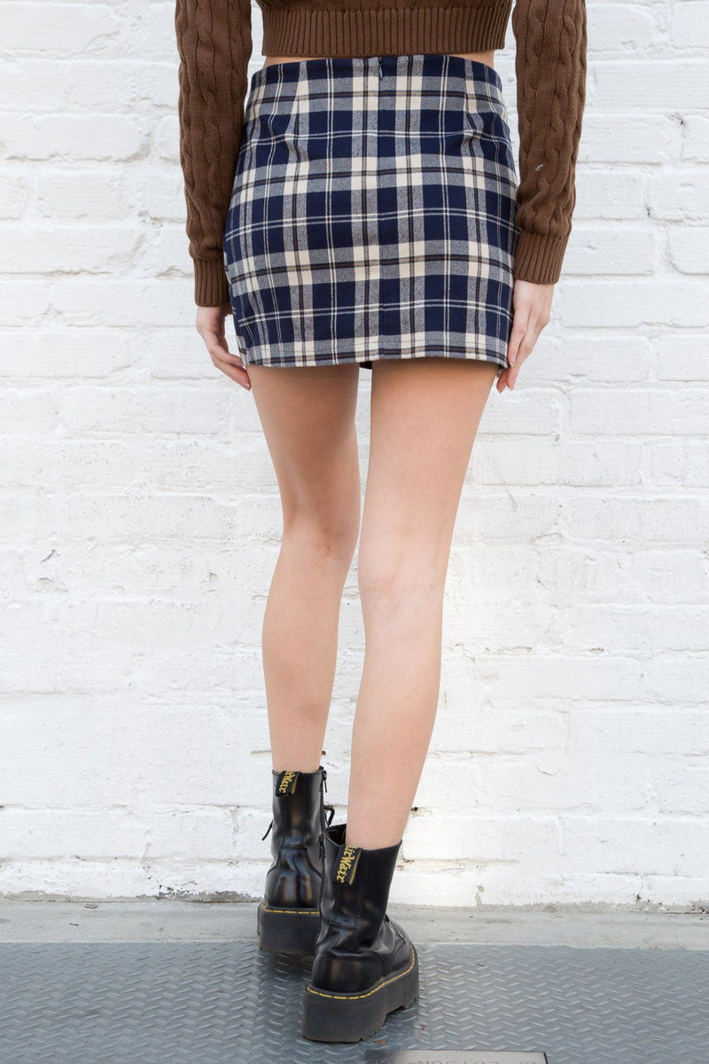 Navy Blue and Beige Plaid / XS/S