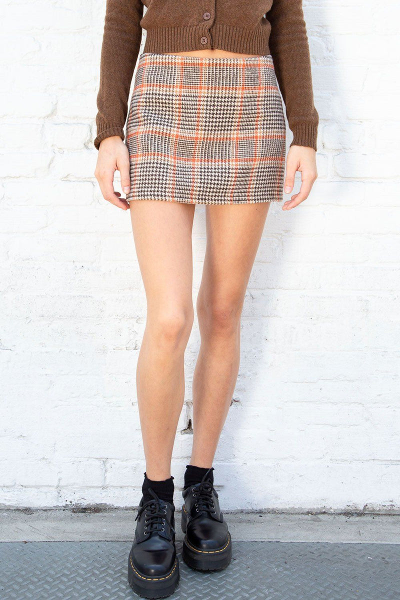 Orange Brown Tan Plaid / XS/S