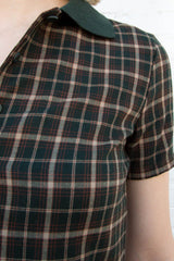 Dark Green with Brown and Beige Plaid / XS/S