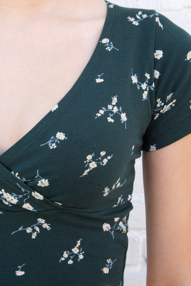 Green with White and Light Blue Floral / S