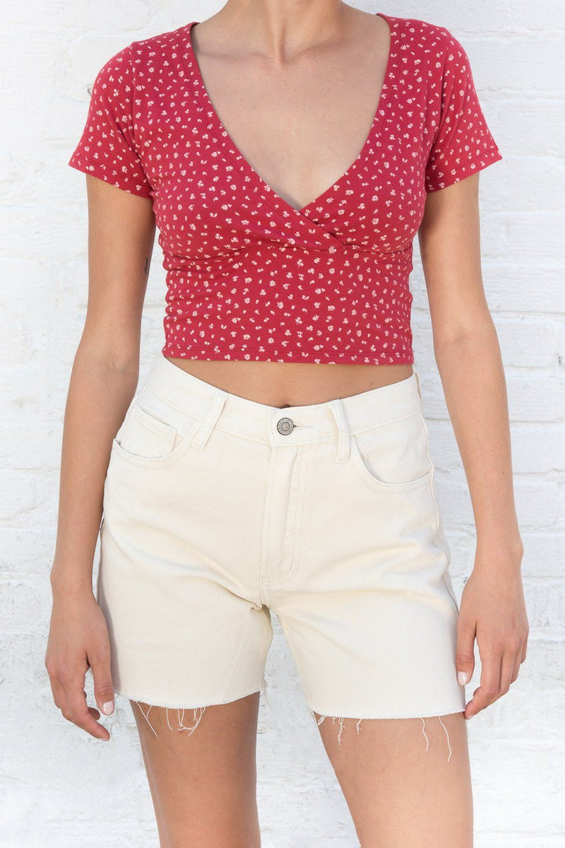 Red with White Floral / S