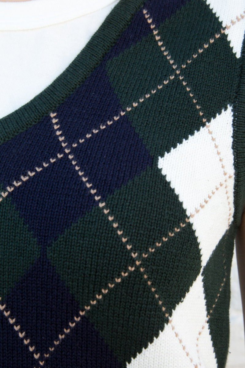 Forest Green with Navy Blue White and Tan Argyle / XS/S