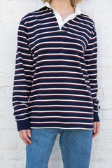 Navy Maroon White Stripes / Oversized Fit