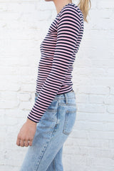 Navy Blue and Light Pink Stripes / S