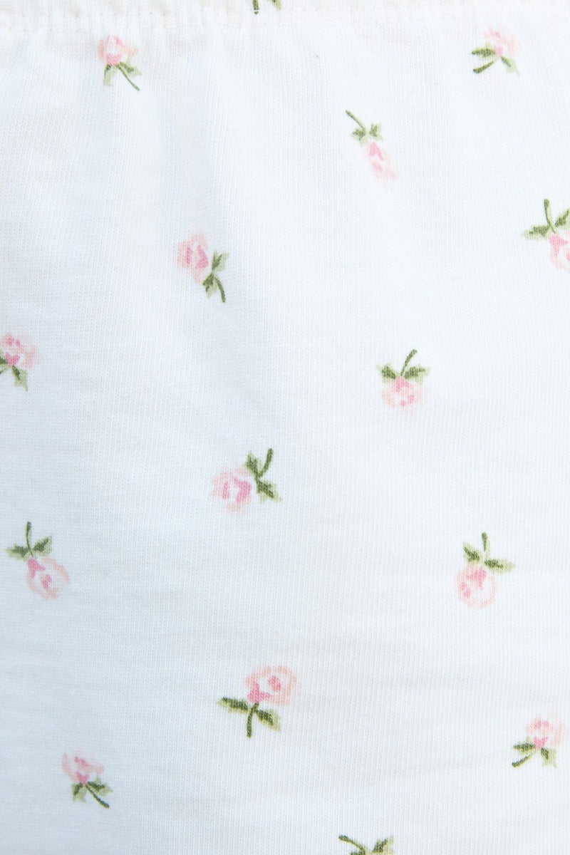 White With Pink And Green Floral / XS/S