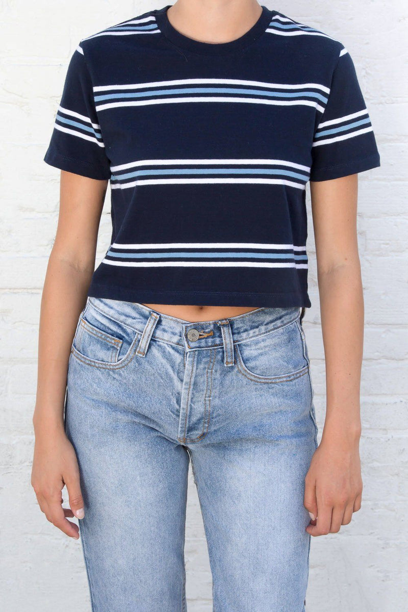 Navy with Light Blue and White Stripes / S