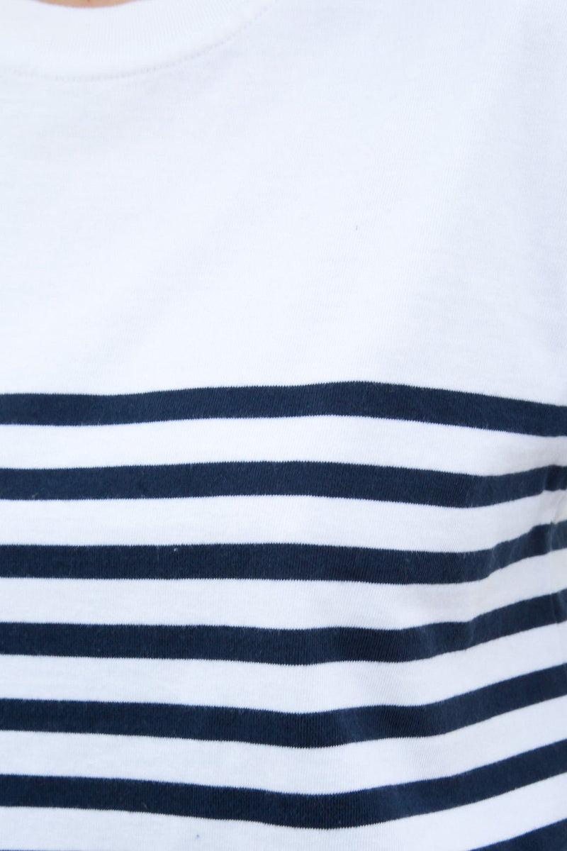 White on Top with Navy Blue Stripes / S