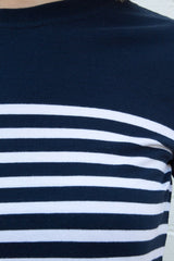 Navy on Top with White Stripes / S