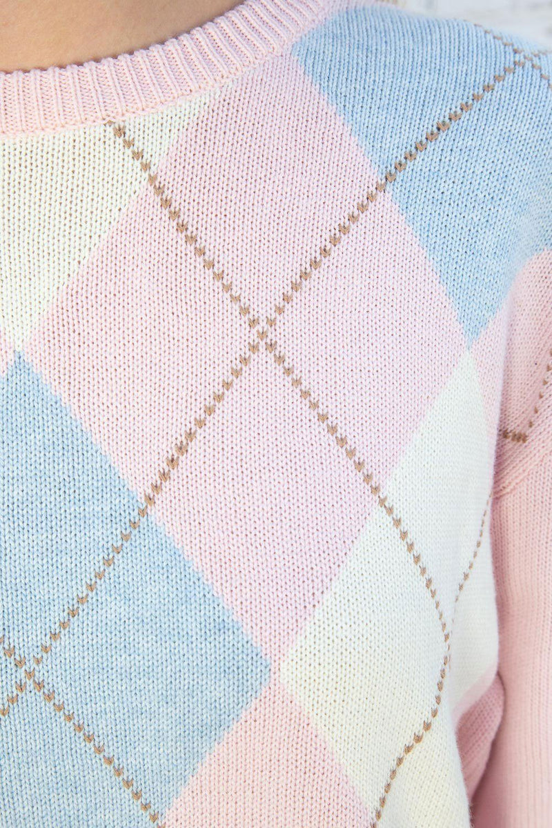 Pink Brown White And Blue Argyle / Regular Fit
