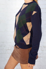 Navy Blue Tan Green And Red Argyle / Regular Fit