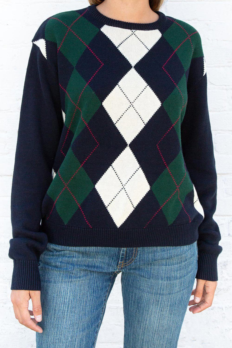 Navy Blue and White Argyle / Regular Fit