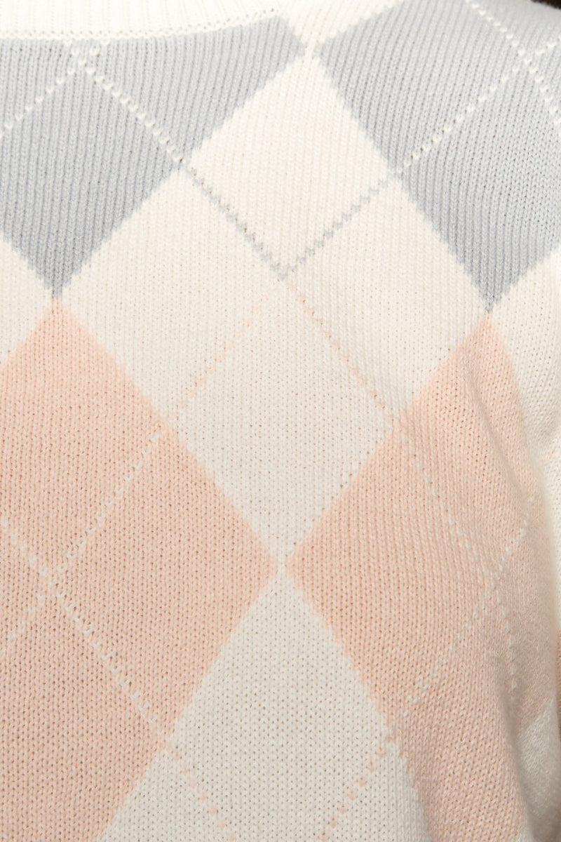 White Pink Blue Argyle / Regular Fit