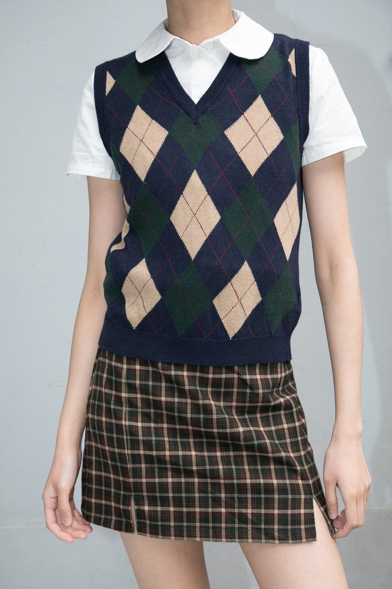 Navy Blue Tan Green And Red Argyle / S