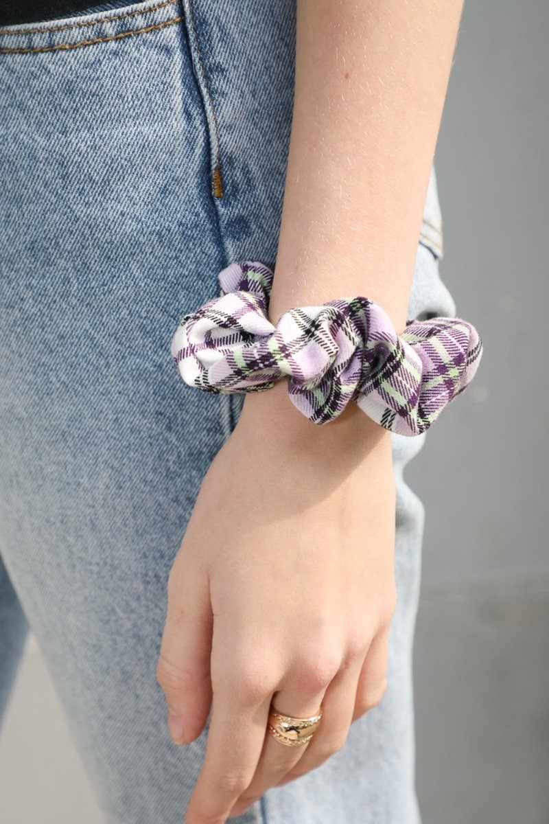 Light Purple with White and Green Plaid