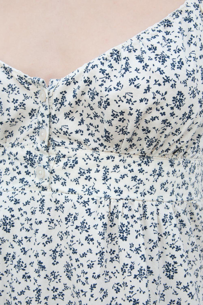 White With Navy Blue Daisy Floral / XS/S