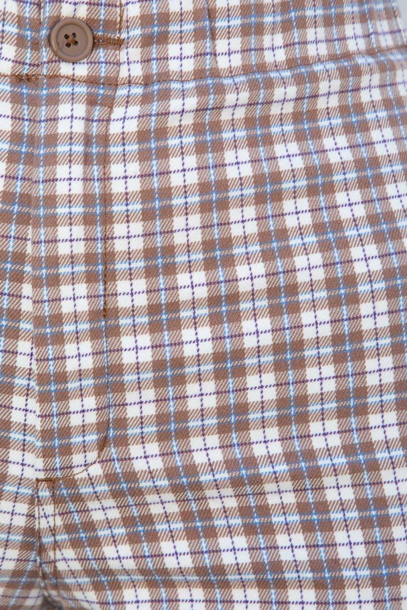 Brown White and Blue Plaid / S