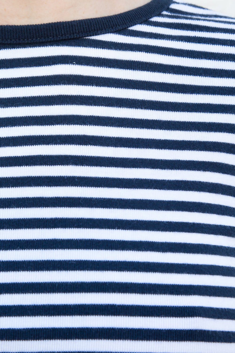 Navy Blue White Stripes / S