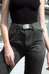 Green and Silver Buckle Belt