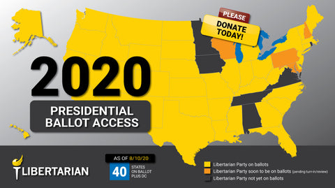 LP Presidential Ticket On Track for Ballot Access in 50 States Plus DC