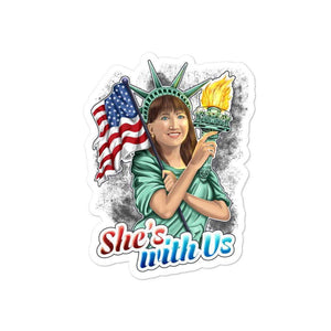 She's With Us Lady Liberty Illustration Black Bubble-free stickers - Libertarian Candidates News and Merchandise