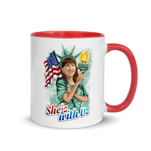She's With Us Lady Liberty Illustration Mug with Color Inside - Libertarian Candidates