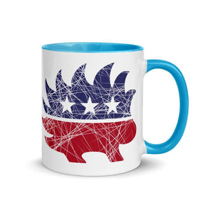 Distressed Libertarian Porcupine Mug with Color Inside - Libertarian Candidates News and Merchandise