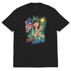 She's With Us Lady Liberty Illustration Green Unisex recycled t-shirt - Libertarian Candidates