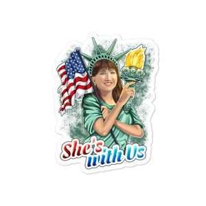 She's With Us Lady Liberty Illustration Dark Bubble-free stickers - Libertarian Candidates