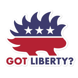Got Liberty? Libertarian Porcupine Graphic Bubble-free stickers - Libertarian Candidates News and Merchandise