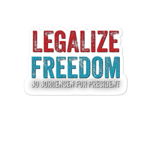 Legalize Freedom Jo Jorgensen for President Bubble-free stickers - Libertarian Candidates News and Merchandise