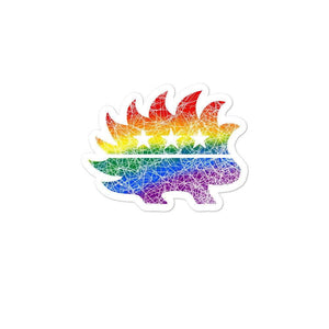 Distressed Style Libertarian Rainbow Porcupine Bubble-free stickers - Libertarian Candidates News and Merchandise