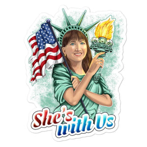 She's With Us Lady Liberty Illustration Green Bubble-free stickers - Libertarian Candidates