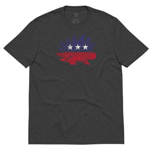 Distressed Libertarian Porcupine Unisex recycled t-shirt - Libertarian Candidates News and Merchandise