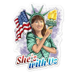 She's With Us Lady Liberty Illustration Purple Bubble-free stickers - Libertarian Candidates