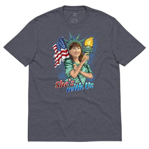 She's With Us Lady Liberty Illustration Blue Unisex recycled t-shirt - Libertarian Candidates News and Merchandise
