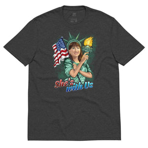 She's With Us Lady Liberty Illustration Dark Unisex recycled t-shirt - Libertarian Candidates News and Merchandise