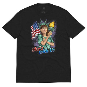 She's With Us Lady Liberty Illustration Unisex recycled t-shirt 2 - Libertarian Candidates News and Merchandise