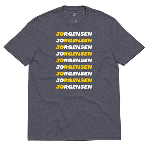 Jo Jorgensen Repeating Design White and Yellow Unisex recycled t-shirt - Libertarian Candidates News and Merchandise