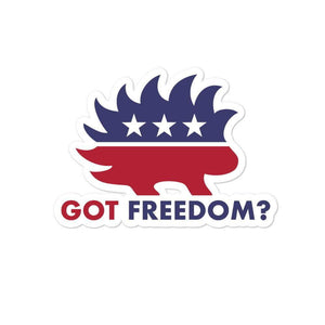 Got Freedom? Libertarian Porcupine Bubble-free stickers - Libertarian Candidates News and Merchandise