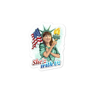She's With Us Lady Liberty Illustration Bright Bubble-free stickers - Libertarian Candidates News and Merchandise