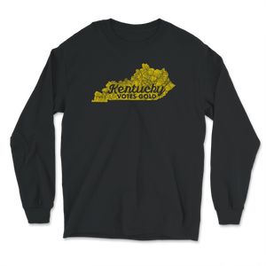 Kentucky Votes Gold Distressed Style Long Sleeve T-Shirt - Libertarian Candidates News and Merchandise