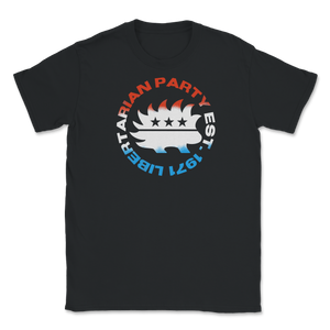 Red White and Blue Libertarian Party Est 1971 Unisex T-Shirt - Libertarian Candidates News and Merchandise