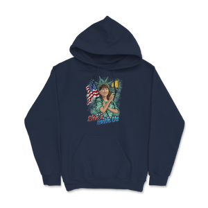 She's With Us Lady Liberty Illustration Green Splash Hoodie - Libertarian Candidates News and Merchandise