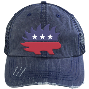 Libertarian Porcupine Distressed Embroidered Trucker Cap - Libertarian Candidates News and Merchandise