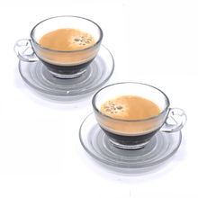 Load image into Gallery viewer, Glass cup & saucer (pair)