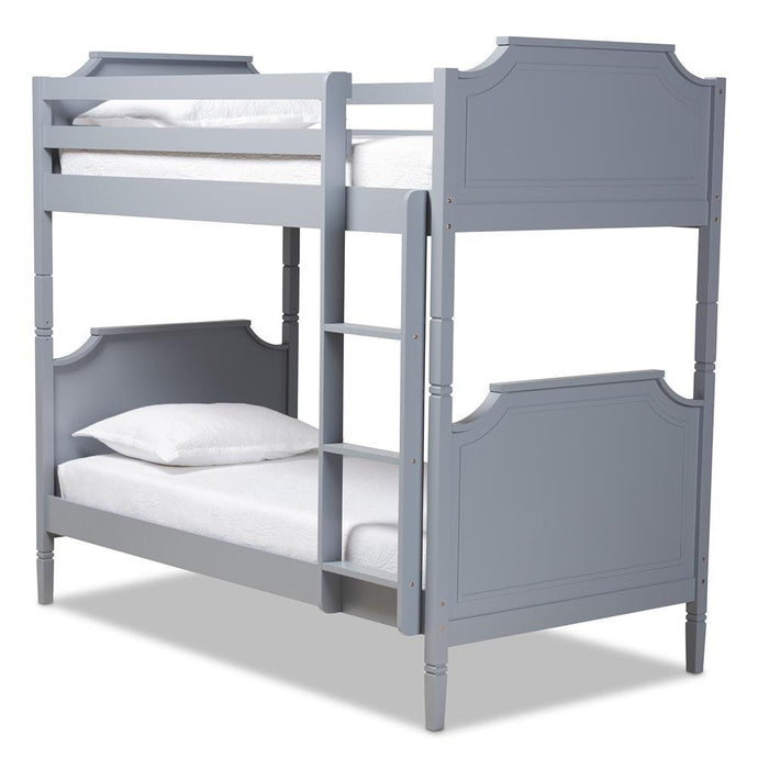 BAXTON STUDIO MARIANA TRADITIONAL TRANSITIONAL GREY FINISHED WOOD TWIN SIZE BUNK BED - Exquisite Home Furnishings Powered by IEE Brothers LLC