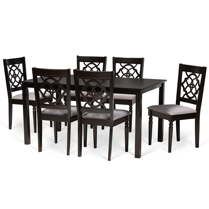 BAXTON STUDIO RENAUD MODERN AND CONTEMPORARY GREY FABRIC UPHOLSTERED AND DARK BROWN FINISHED WOOD 7-PIECE DINING SET - Exquisite Home Furnishings Powered by IEE Brothers LLC