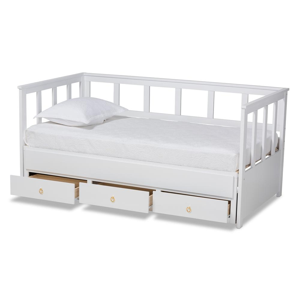 BAXTON STUDIO KENDRA MODERN AND CONTEMPORARY WHITE FINISHED EXPANDABLE TWIN SIZE TO KING SIZE DAYBED WITH STORAGE DRAWERS - Exquisite Home Furnishings Powered by IEE Brothers LLC