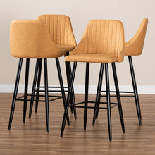 Load image into Gallery viewer, WALTER MID-CENTURY CONTEMPORARY TAN FAUX LEATHER UPHOLSTERED AND BLACK METAL 4-PIECE BAR STOOL SET